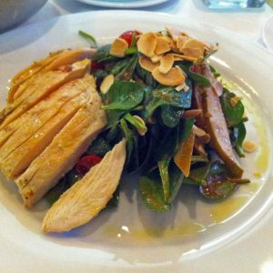 Spinach and Pear Salad with Fig Vinegarette, Almonds, Chicken