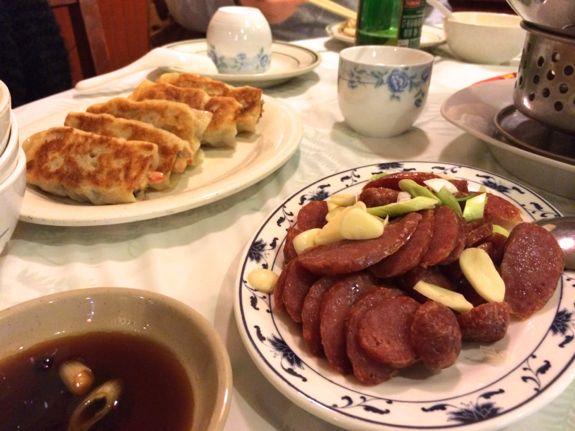 pork fried dumplings and taiwanese sausage