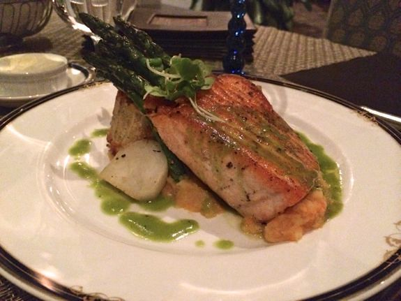 Salmon with Oyster Leek pudding