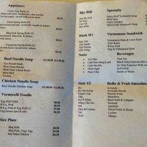 pho vietnam menu