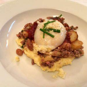 Bison Brisket Hash, NC Egg, Mustard-Pickled Peanuts, Tomato Jam, Calvander Grits